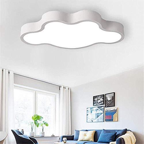 Lámpara de techo, mando a distancia, luz de nube, moderna, LED, protección para los ojos, color macaron, personalidad, cálida, decoración de guardería, color blanco claro, diámetro 58 cm / 40 W