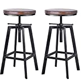 BOKKOLIK Set of 2 Industrial Bar Stools 25.6-30.5inch Counter Bar Height Adjustable Swivel Wooden Seat Kitchen Dining Chairs