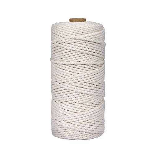 HONGXIN-SHOP Makramee Garn 3 mm x 100 m Baumwollgarn Baumwollkordel für DIY Handwerk Basteln Wand Aufhängung Pflanze Aufhänger