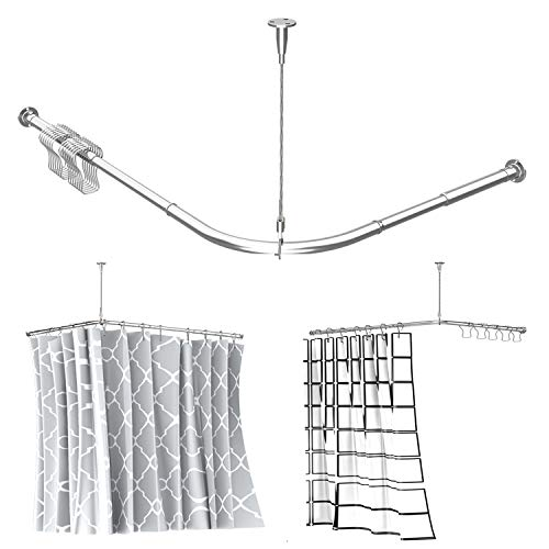 """Quany Life Stretchable Corner Shower Curtain Rod - Easy Assemble 304 Stainless L Shaped 23.6-35.4"""" x 40-67"""" with Ceiling Support,for Bathroom Bathtub, Clothing Store,Private Space(Free Curtain Hook )"""