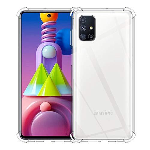 Aerku Hülle für Samsung Galaxy M51, R&umschutz [Kratzfest] [Anti-Fall] [Stoßdämpfung] Ultra-dünne TPU Silikon Gel-Abdeckung Transparent Hülle Handyhülle für Galaxy M51[Transparent]