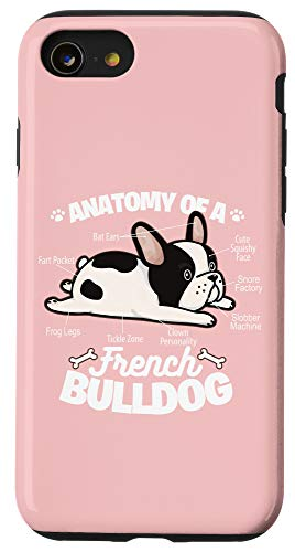 iPhone SE (2020) / 7 / 8 Pink French Bulldog Funny Anatomy Of A Frenchie Case