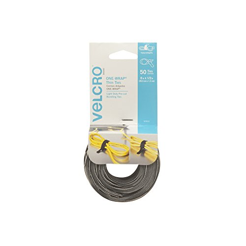 VELCRO Brand ONE WRAP Thin Ties | Strong & Reusable | Perfect for Fastening Wires & Organizing Cords | Black & Gray, 8 x 1/2-Inch | 25 Black + 25 Gray Ties