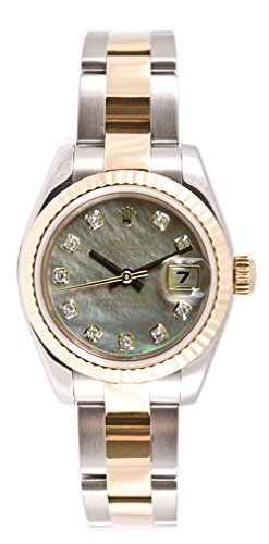 Rolex Ladys 179173 Datejust, Oyster Band, Fluted Bezel & Dark Mother of Pearl Diamond Dial