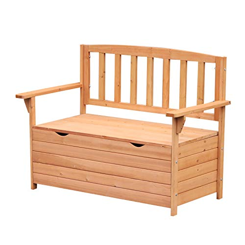 Outsunny Outdoor Garden Wooden Storage Bench Box Patio Seating Furniture 112L x 84H x 58W cm