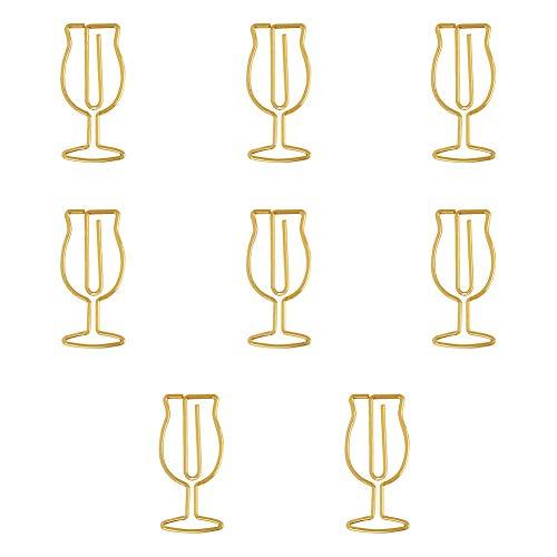 Monbedos 8 stuks eenvoudige stijl creatief design wijnglas patroon bureauklem draagbaar bladwijzer