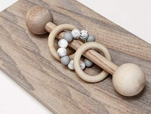 Just4Tots by MAD Organic Wood Montessori Styled Baby Rattle | Perfect...