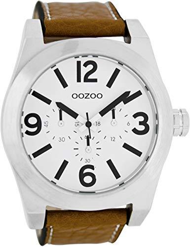 Oozoo Herrenuhr mit Lederband 48 MM Weiß/Cognac C6730