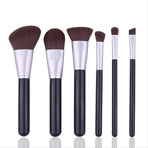 Pinceaux Maquillages Outil De Maquillage, Gris Noir 6 Manche En Bois, Pinceau De Maquillage Beginners Avec Sac En Pu