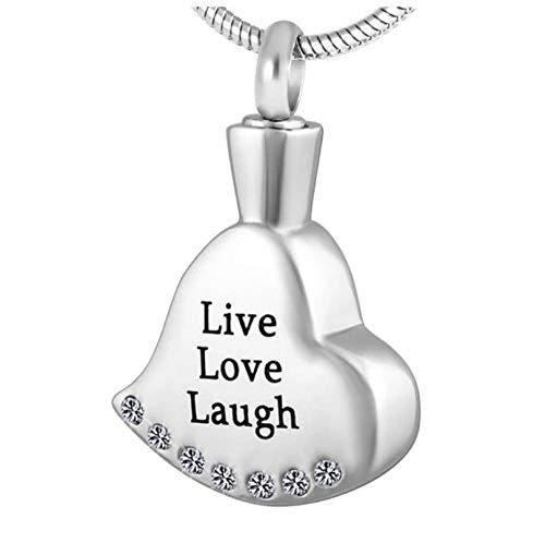Wxcvz Colgante Conmemorativo Grabado Gratis Live Love Laugh, Collar De Joyería De Cremación con Colgante De Urna Conmemorativa De Recuerdo De Corazón De Cristal De Acero Inoxidable