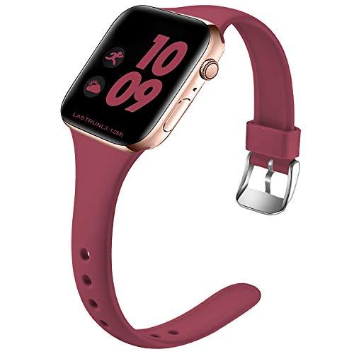 Wepro Kompatibel für Apple Watch Armband 38mm 40mm, Schlank Dünnes Weiches Silikon Ersatzarmband mit Klassischer Schnalle für Apple Watch SE/iWatch Series 6 5 4 3 2 1 S/M, Wein Rot
