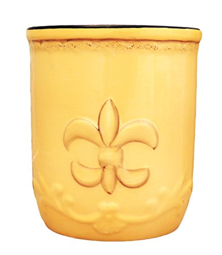 ACK Tuscany Colorful Hand Painted Fleur De Lis Yellow Utensil Holder