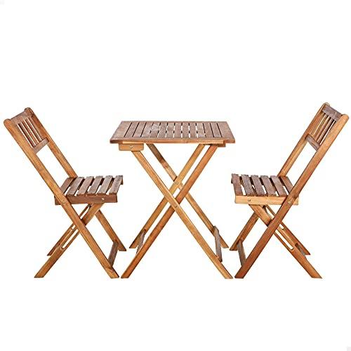 Aktive 61000 - Conjunto mesa y sillas jardín, conjunto terraza mesa y sillas plegables, Madera acacia, 1 mesa, 2 sillas, mesa madera plegable, sillas madera plegables