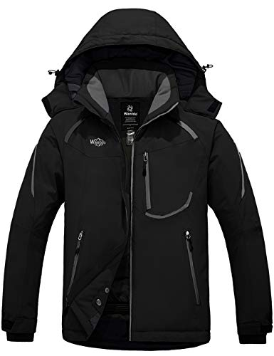 Wantdo Men's Mountain Waterproof Ski Jacket with Detachable Hood Black S
