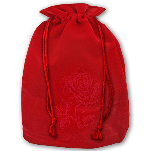 Reusable Santa Gift Beautiful Roses Christmas Bags, Present Bag with Drawstring Candy Pouch Red
