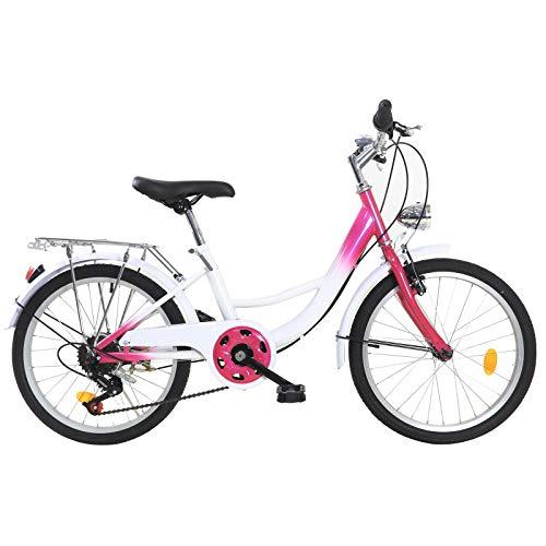 Fetcoi 20 Zoll Kinderfahrrad geeignet für 2-16 Jahre Kinderfahrrad 6 Gang-Schaltung Fahrrad Jungen Mädchen mit Lichtern,Rosa + Weiß