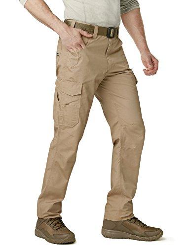 CQR Men's Ripstop Work Pants, Water Repellent Tactical Pants, Outdoor Utility Operator EDC Straight/Cargo Pants, Work Cargo(twp302) - Khaki, 42W x 30L