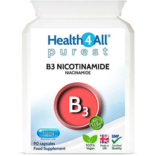 Vitamin B3 Nicotinamide (Niacinamide) 500mg 90 Capsules (V) Purest- no additives. Vegan. No-Flush Niacinamide. Made by Health4All