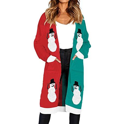 Knitted Christmas Elk Print Cardigan for Women Long Sleeve T-Shirt Sweater Coat