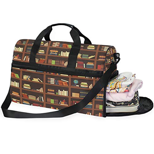 Large Duffle Bag Old Library Bookshelf Best Gym Bag Sport Duffel Bag for Men Women Traveling