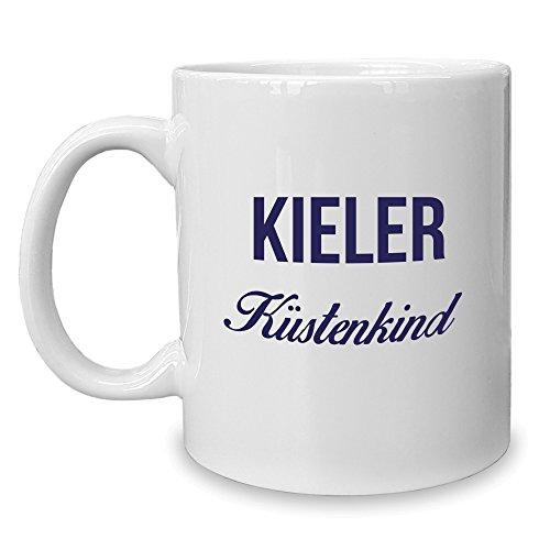 Shirt Department - Kaffeebecher - Tasse - Kieler Küstenkind Weiss-dunkelblau