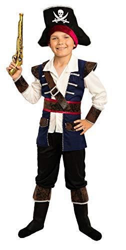 Magicoo Kapitän Piratenkostüm Kinder Jungen Blau/Weiß/Schwarz Gr. 92 bis 140- Fasching Pirat Kostüm Kind (92/104)