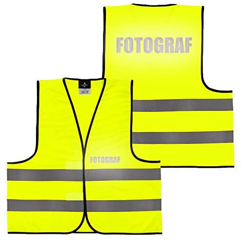Warnweste Gelb Orange, beidseitig bedruckt auf Brust und Rücken Reflex mit Ordner, Security große Auswahl Motive Aufdrucke 026 Fotograf (Gelb) M