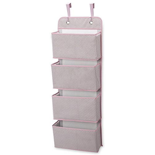 Delta Children 4 Pocket Over The Door Hanging Organizer, Easy Storage/Organization Solution - Versatile and Accessible in Any Room in the House, Pink