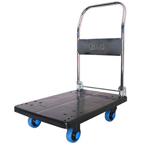 Wagen Blaues Vierrad-kleiner Wagen-Van-Werkzeug-Wagen-Handkarren-stumme Laufkatzen-industrielle LKW-flache Laufkatzen-Last 150KG (Farbe : Black)