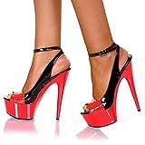 LEBE Talon Aiguille 15cm Sandales Stilletto Sandales de Poissons de Poisson épais Samedi de Grande Taille Plate Forme imperméable Chaussures pour Femmes-Red||43