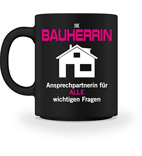 FlairWear Bauherrin Design Geschenk Hausbau Richtfest Entscheiderin - Tasse -M-Schwarz
