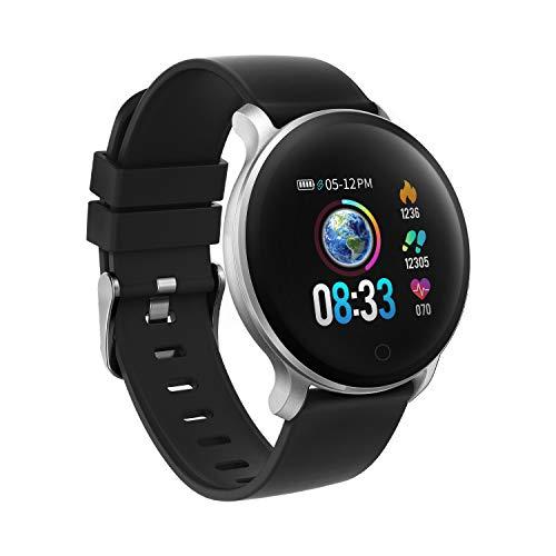 moreFit Fitness Armband Uhr, Smartwatch Fitness Tracker mit Pulsmesser Wasserdicht IP68 Fitness Uhr Pulsuhr Schrittzähler Uhr für Damen Herren Anruf SMS SNS Beachten, Schwarz