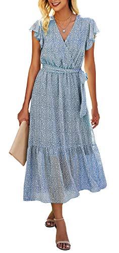 BTFBM Women Summer Bohemian Floral Casual Wrap V Neck Ruffle Cap Sleeveless Belt A-Line Pleated Hem Swing Midi Sun Dress (Light Blue, Large)