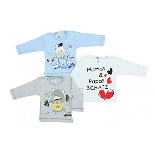 TupTam TupTam Unisex Baby Langarmshirt mit Spruch Aufdruck 3er Set, Farbe: Junge, Größe: 62