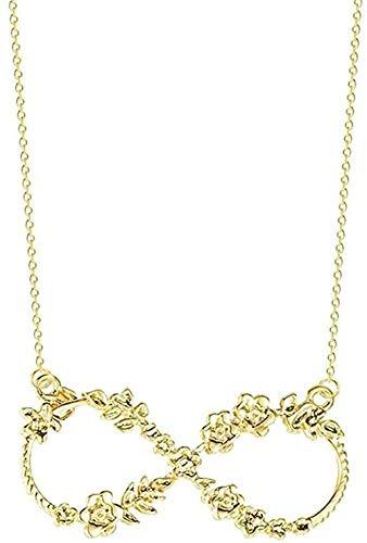 WYDSFWL Collar para Mujer Chic Lucky Number Ocho Infinito Flor Colgante Collar Joyería Collar de Regalo