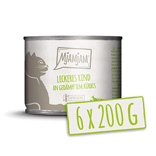 MjAMjAM - Premium Nassfutter für Katzen - leckeres Rind an gedämpftem Kürbis, 6er Pack (6 x 200 g), getreidefrei mit extra viel Fleisch