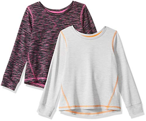 Amazon Essentials Little Girls' 2-Pack Long-Sleeve Active Tee, Black Spacedye/Light Grey Heather, S (6-7)