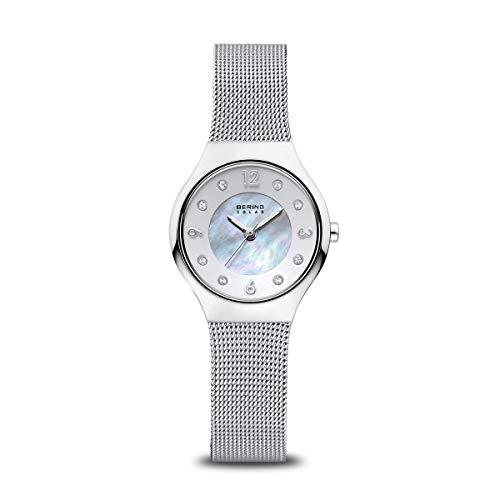 Bering Damen Analog Solar Uhr mit Edelstahl Armband 14427-004