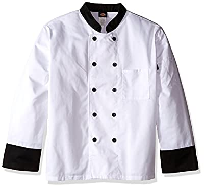 Dickies Chef Classic 10 Button Coat with Contrast Cuffs and Collar, White With Black, xx-Large