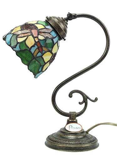 Lampada ottone brunito stile liberty da tavolo,comò,comodino con vetro stile tiffany s4 Misure:H 32cm,Ø vetro 12,5cm,Ø base 13cm.Le misure sono con vetro.Portalampade attacco Edison E14