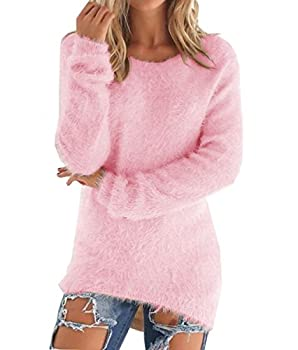 LemonGirl Women s Fashionable Long Sleeve Pullovers Loose Fluffy Fuzzy Jumper Sweater Pink