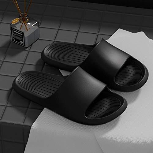 Nwarmsouth Sandalias de Piso Casuales Antideslizantes,Zapatillas de baño Antideslizantes, Sandalias Plataforma Masaje-Negro_44-45,Hombre & Mujer & Pareja Sandalias