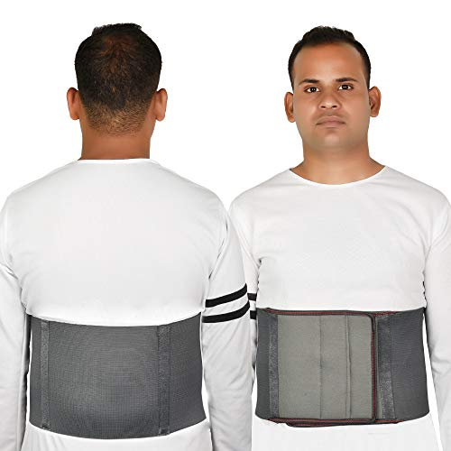 HAKAN Abdominal/Tummy Belt for Weight Loss Men Women Stomach Compression Elastic Wrap (Medium, Grey & Beige, 32-36 Inch)