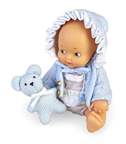 los Barriguitas- Set de bebé con ropita Azul y Mascota de Punto (Famosa 700015697)
