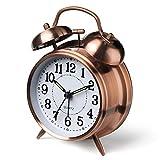 MANAR Classical Alarm Clock Vintage Silent Pointer Clocks Round Number Dual Bell Loud Alarm Clock Night Light Home Decor