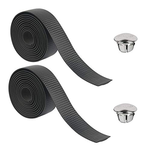 CHIFOOM 2pcs Bicycle Handlebar Tapes,Road Bike Grip Tape Cycling Handle Carbon Fiber Non-Slip Wrap Tape with 2pcs Bar End Plugs for Mountain Bike Baby Carriage Fishing Rod (Black,Without Adhesive)