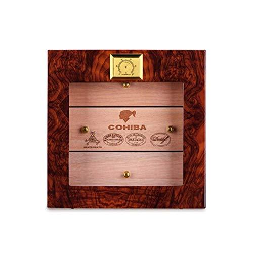L-WSWS Caja de cigarros, humidor, partición independiente, tres capas de madera natural suave Cedar Piano pintura cigarro Gabinete, palo de rosa de buen humor, buena vida (Color: Natural) Cigarro Acce