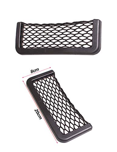 Car Trunk Storage Net, 2 Pack (20 cm/7.87in X 8 cm/3.14in) Black Magic selbstklebend Ablagenetz Elastic String Netz Mesh-Tasche für Handy Geldbörse Schlüssel Kleine Dinge