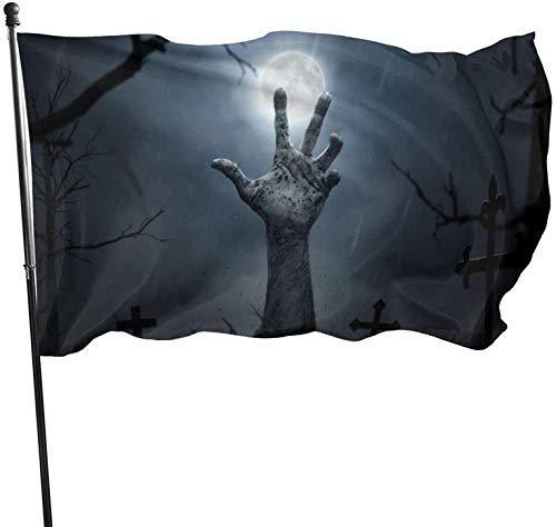 Samhain Zombies Cemetery Mano Brazo Fiesta de bienvenida temática Decoraciones exteriores al aire libre Adornos Selecciones Hogar Casa Jardín Patio Decoración 3 x 5 pies Jumbo Gran bandera enorme