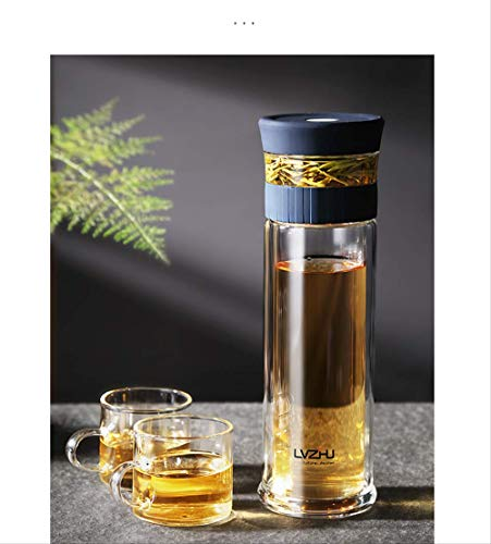 mingtian Business Type Waterfles Glazen Fles Met RVS Thee Infuser Filter Dubbele Muur Glas Sport Water Tumbler 400ml
